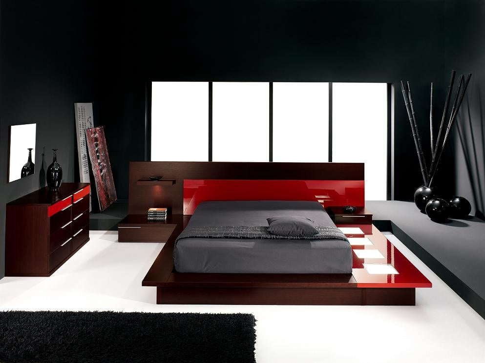 Black, white and red bedroom, very modern and stylish
