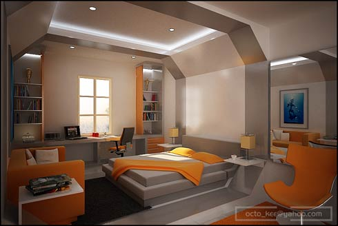 Futurist cream, grey and orange bedroom with an octagonal space pod style