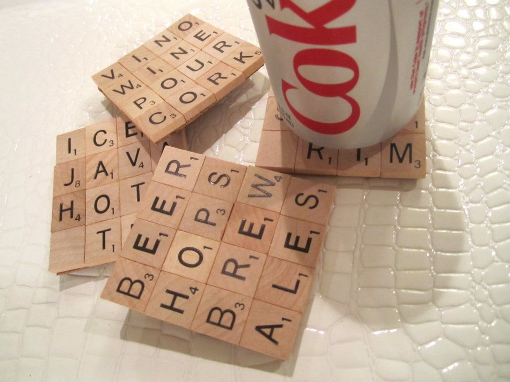 Drink coasters made from scrabble tiles
