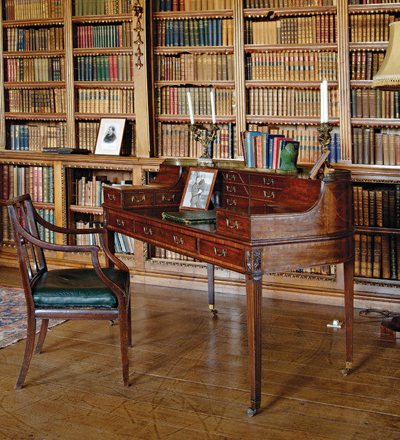 Dark Walnut Traditional Writing Desk In A Manor House Library