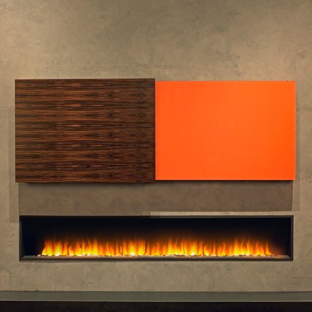 Wide shallow fireplace on a brown wall, with dark brown and orange wall art above the fire