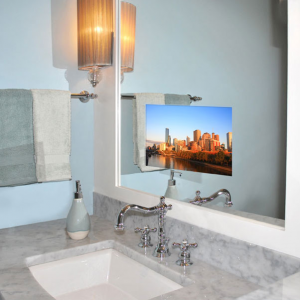 A photoshopped image, supposedly of a TV screen set within a bathroom mirror