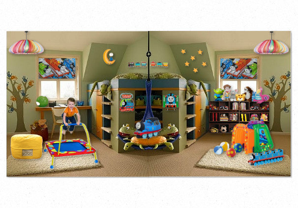Sage green kids bedroom with custom built bunk bed, trampoline and popular toys and teddies