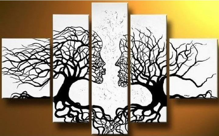 Five white canvases joined together to show trees and branches that resemble two faces going in for a kiss