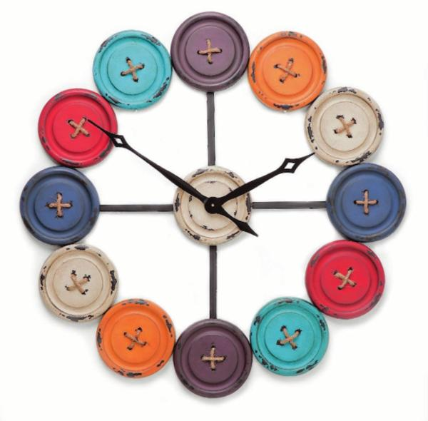 A clock with a button in the centre and different coloured buttons in the place of numbers