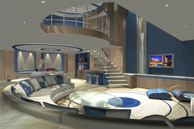 Luxury and stylish living space with large round seats going all the way around the room and mezzanine floor accessible by stairs