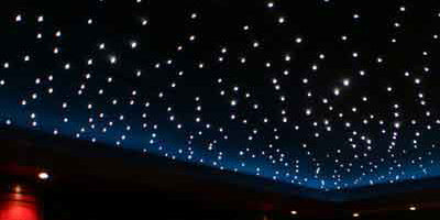 A starry bedroom ceiling with fairy lights