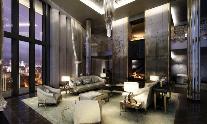 High ceiling penthouse style living room in black, cream, silver and gold
