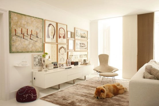 Cream and beige living room with Chow Chow dog lying on a beige rug