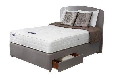 Grey double divan with white mattress