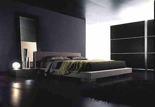 Black bedroom with black walls and black wedding, one corner of the room is illuminated with solid light panel wall