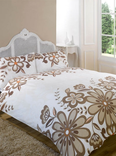 Cream bedding with brown floral pattern
