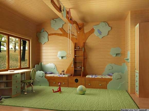 Wood panel room with writing desk and decorative wood tree that doubles as a hand swing