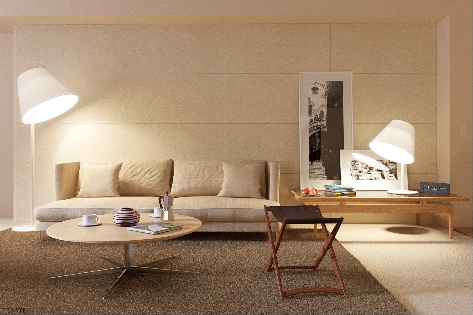 Cream and beige living room with beige sofa and round coffee table