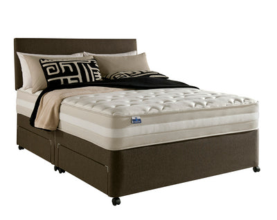 Double divan bed in brown, with cream mattress