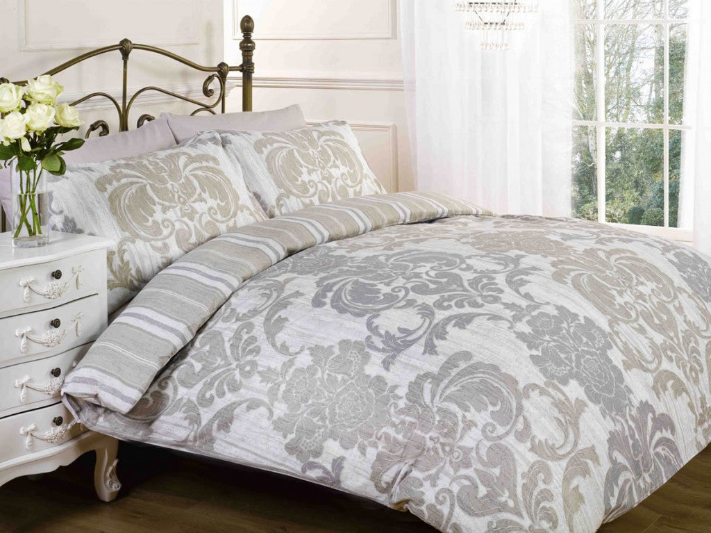 Cream bedding with silver floral pattern