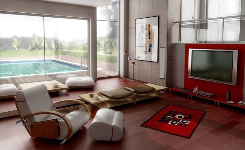 Luxury living room with dark wooden flooring, with extravagant glass sliding doors opening to an outdoor pool