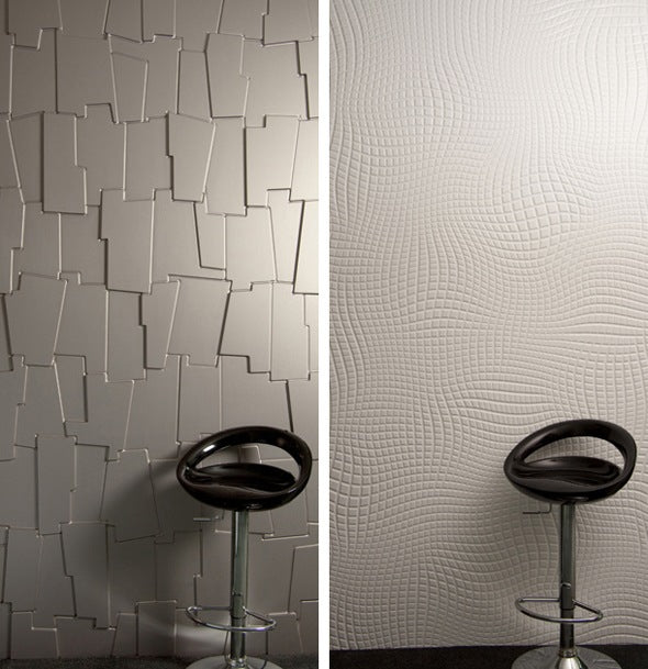 Two different wall surfaces, one like jigsaw pieces and the other like a warped bending grid