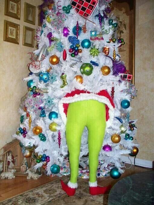 A white Christmas tree, with the Grinch's full size legs sticking out