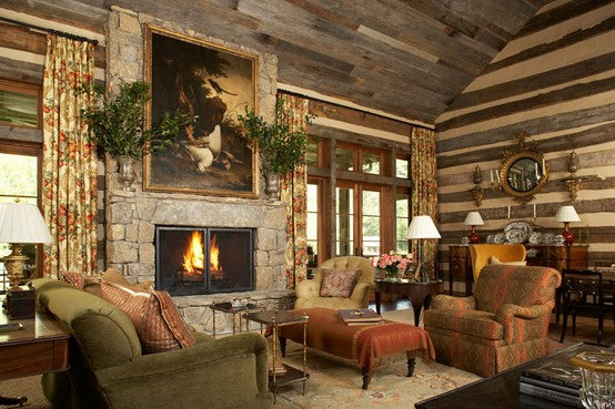 Traditional interior decor within a log cabin