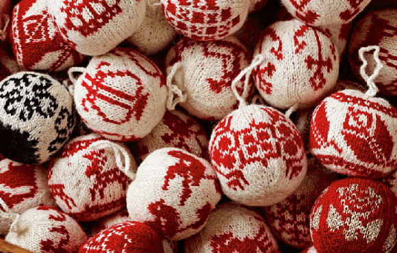 Red and white woollen round Christmas decorations