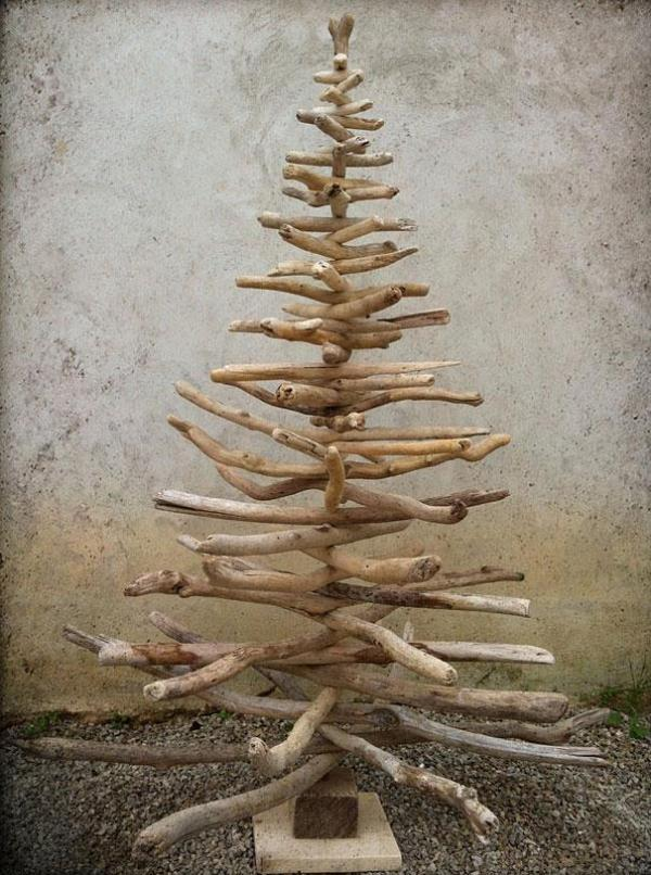 A Christmas tree made from pieces of driftwood