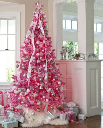 Pink Christmas tree with silver and white decorations