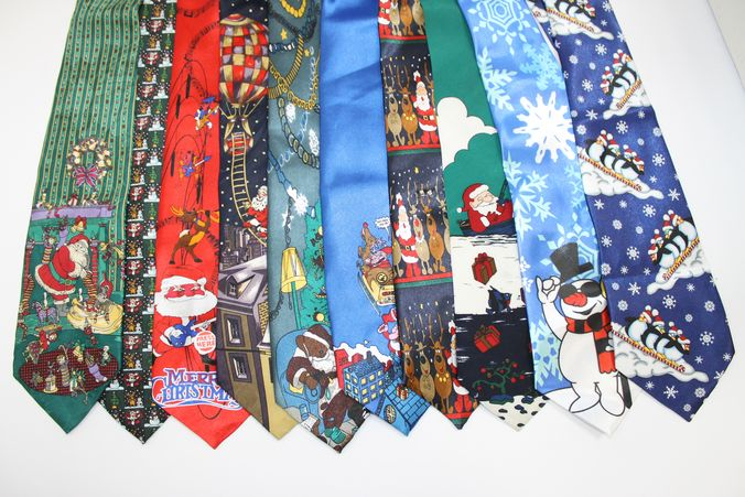 A collection of different festive Christmas ties