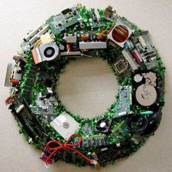 Computer components and circuit boards used to make Christmas door wreath