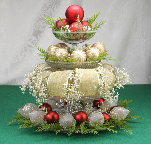 A festive bowl of ribbons and baubles