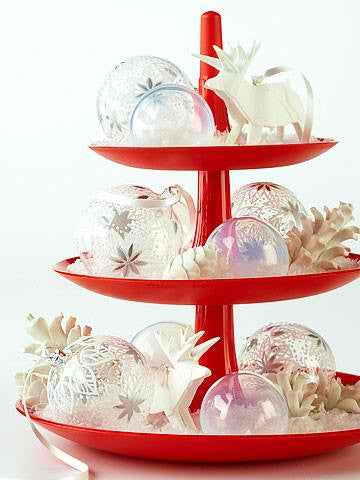 A three tier red platter containing glass baubles with silver patterns