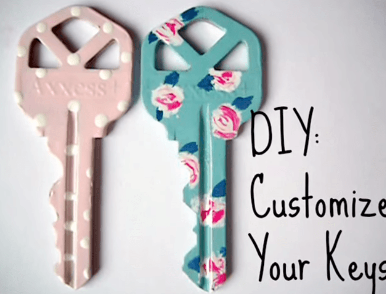 DIY painted keys with pink spotted design, and duck egg floral design