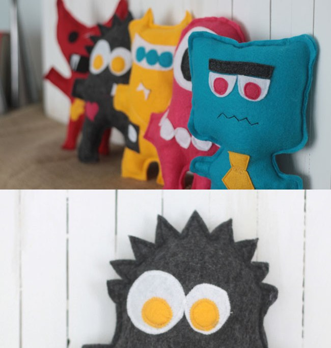 Felt soft toys, styled like monsters in different colours