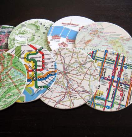 Coasters depicting different maps