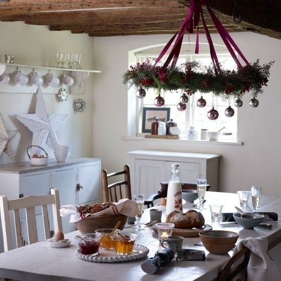 A farmhouse style kitchen decorated with subtle Christmas decorations