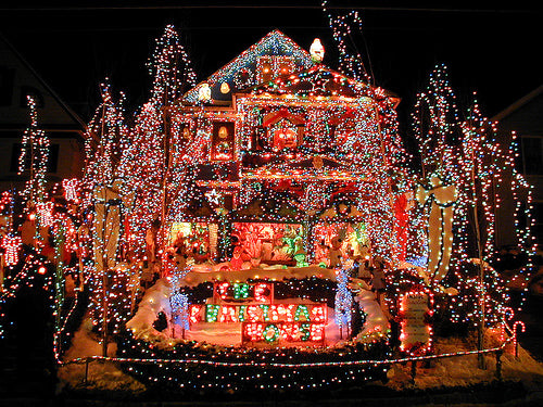 A house completely covered in Christmas lights