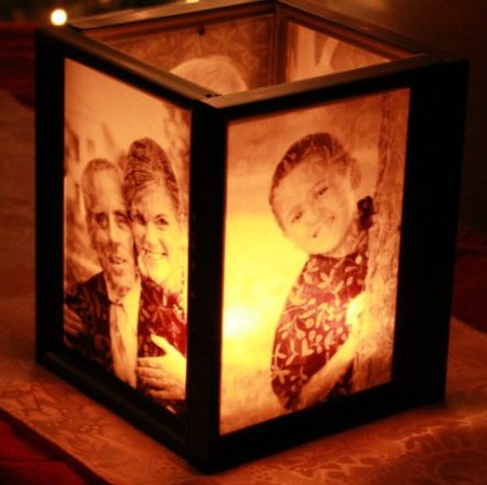 Candle box, with sides depicting family photos