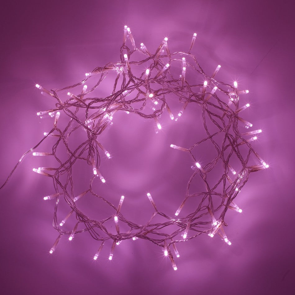 Pink fairy lights in a bunched circle
