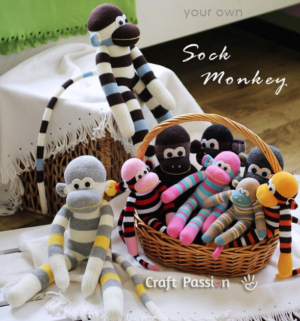 Stuffed monkey toys made from striped socks