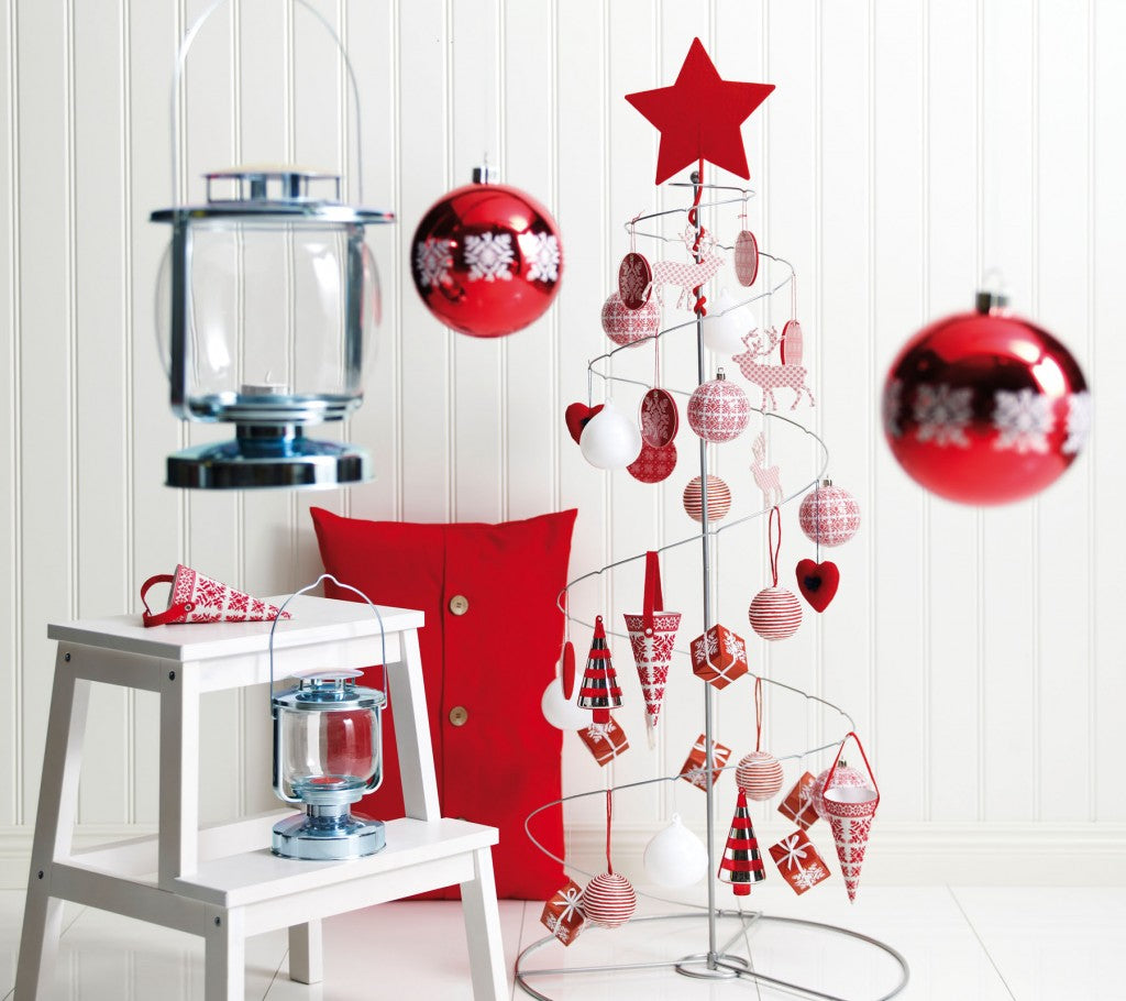 White room with red Christmas decorations