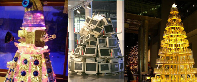 A Christmas themed Dalek, and a pile of computer monitors made to look like a Christmas tree
