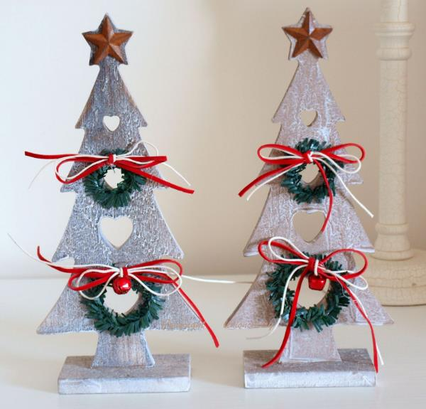 Silver wooden Christmas tree ornaments