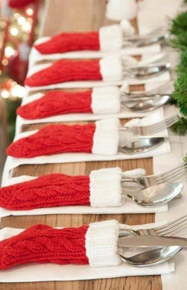 Cutlery place settings that look like little stockings