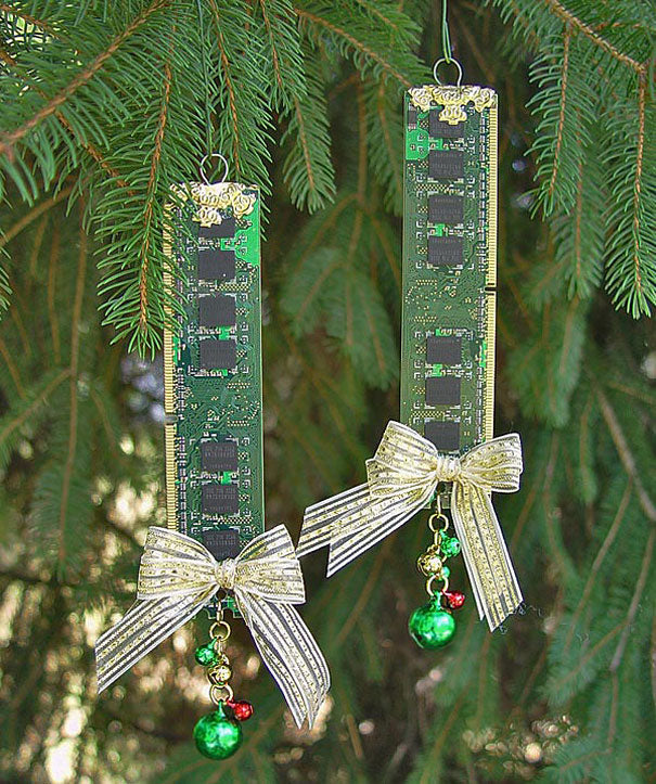 Circuit boards hung on a tree as decorations