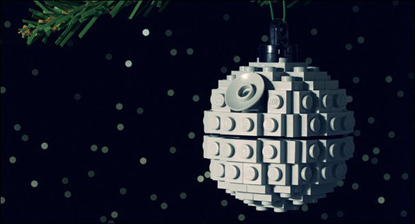 A small Lego Star Wars Death Star Christmas tree ornament