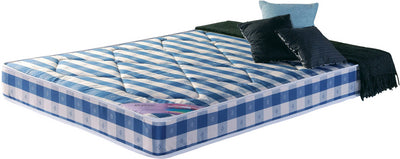 Blue and white checked double mattress