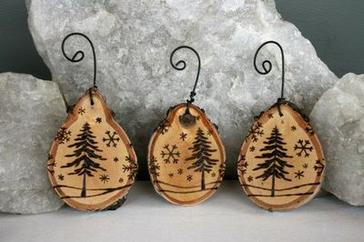 Wooden tree decorations with a festive tree scene