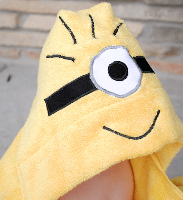 Minion themed kids hooded towel