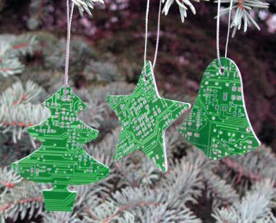 Christmas tree ornaments made out of micro chip circuit boards