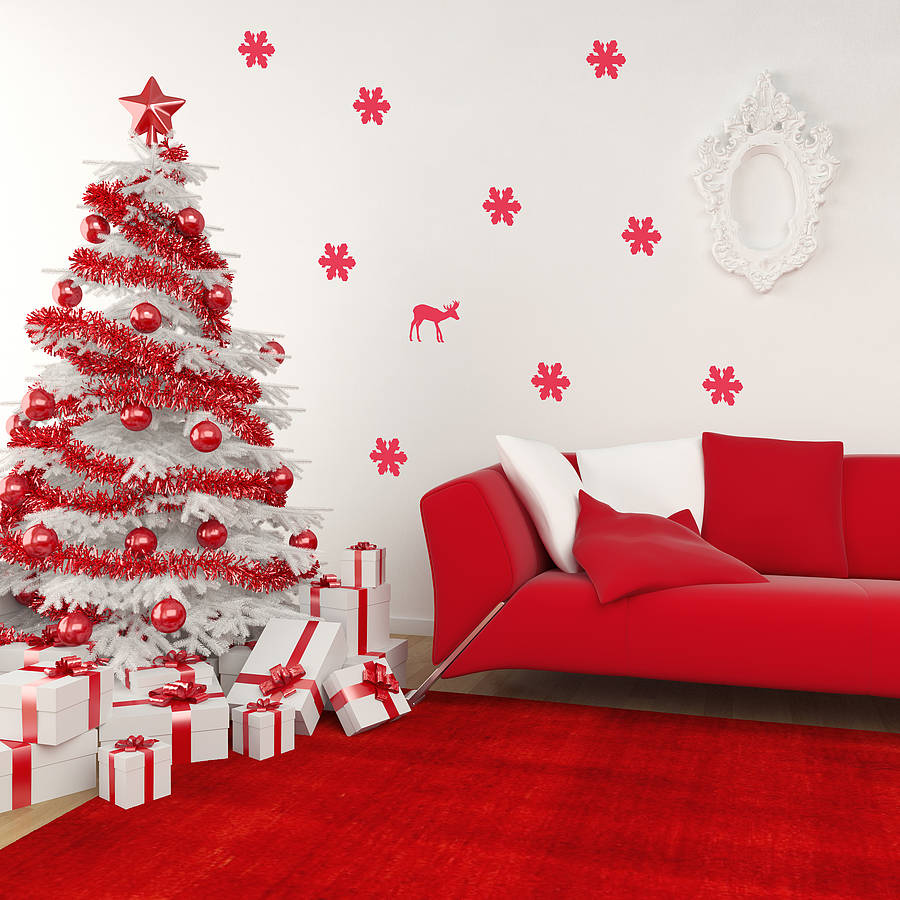Red and white Christmas decorations, white wall and red sofa